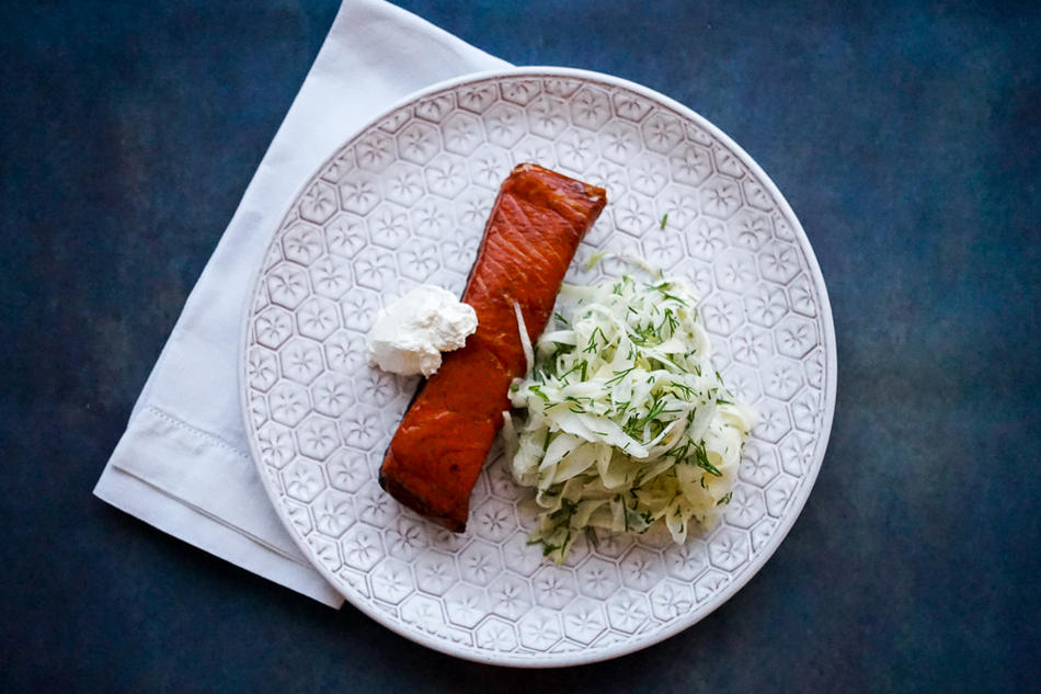 Hot Smoked Salmon with Pickled Fennel and Horseradish Cream